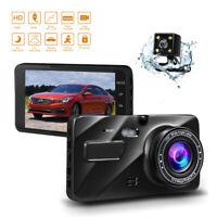 "Full HD 1080P 4"" Dual Lens Car Dash Cam Recorder Camera G-sensor Loop Recording"