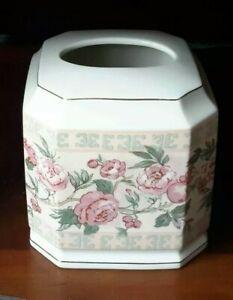 Croscill Jacqueline Rose Ceramic 5x6 Tissue Cover NWT Kleenex Flower Porcelain