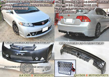 Mu-gen RR Front Bumper + Fog + Grill + RR Rear Lip + LED Fits 06-11 Civic 4dr