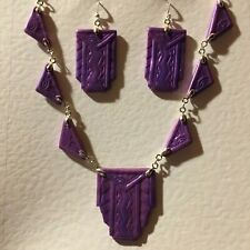 PEARLY PURPLE ART DECO HAND CRAFTED ARCHITECTURAL NECKLACE & EARRINGS SET
