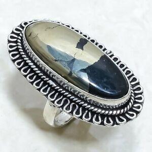 Apache Pyrite Gemstone Handmade Ethnic Silver Jewelry Ring Size 7.5 RLG7960