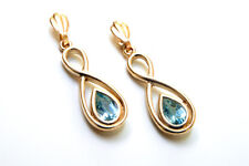 9ct Gold Blue Topaz Teardrop Fancy Earrings Gift Boxed Made in UK Valentine