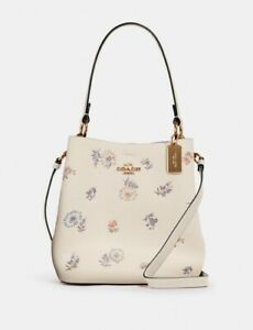 NWT Coach Small Town Bucket Bag Floral Dandelion Leather Crossbody Shoulder Bag