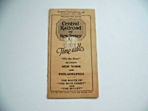 Central Railroad of New Jersey 1930 Time Table New York Philadelphia Blue Comet