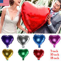 "5""/10""/18"" Heart Shape 1~10PC Foil Helium Balloons Birthday Wedding Party Decor"