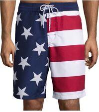 Mens Swim Trunks/Surf Shorts-Red, White & Blue Print NWT Medium