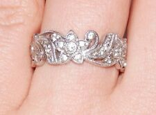 925 STERLING SILVER TACORI FLORAL FILIGREE ETERNITY CZ RING WIDE BAND SIZE 8