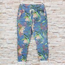 MADE IN ITALY Jogpants Crash Hose Röhrenhose Tropic Blumen Print blau 36 38 40