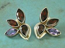 ECHO OF THE DREAMER Sterling Silver Garnet & Amethyst Pierced Earrings