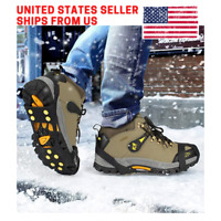 10 Studs Anti-Skid Snow Ice Climbing Shoe Spikes Grips Crampons Cleats Overshoes