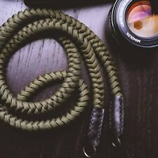Climbing Rope + Leather Braided Camera Neck Shoulder Strap for Nikon Olympus