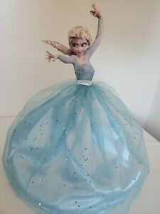 Disney Princess Frozen Elsa wood standing doll with cloth dress. 22 inches tall