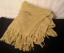 """Pottery Barn  Chenille Gold  Cotton Blend Fringed Throw Blanket 56"""" ×72"""""""