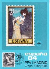 Pfa Madrid España 84 Sello de Estocolmo exposición FDC Tarjeta postal no utilizados en muy buena condición