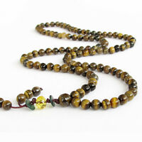 108 Tiger Eye Gemstone Beads Tibet Buddhist Prayer Necklace Mala