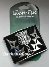 KILT BELT BUCKLE by GlenEsk BLACK ENAMEL CHROME HIGHLAND THISTLE MADE IN THE UK