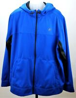 Russell Mens Athletic Performance Jacket Hooded Zip Blue Fleece Lined Size 2XL