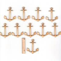 Anker 5cm aus Holz Maritim 10 Stück Meer Deko Geschenk Ostsee Wasser Angler
