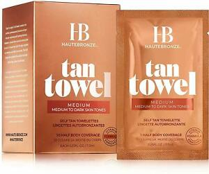 HauteBronze Half Body Self Tan Towelettes by Tan Towel, 10 count Medium