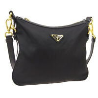 PRADA Logos Cross Body Shoulder Bag #173 Black Nylon Leather Italy M15097