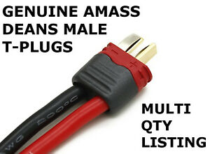 AMASS Sheathed T-Plug Deans Male Connectors for Batteries - Multi Buy Saving