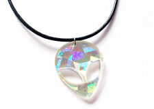 90s HOLOGRAPHIC ALIEN Acrylic Pendant Choker Necklace