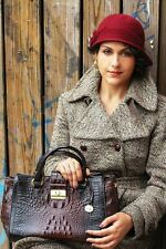 ❤️BRAHMIN ANNABELLE SATCHEL COCOA BROWN HANDBAG CROCODILE EMB LEATHER ~ MALIA ❤️