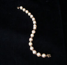 """7"""" VINTAGE 14K YELLOW GOLD WITH CULTURES PEARL BRACELET / NEW OLD STOCK"""