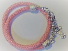 Amellee *SALE Rose Stingray leather S/Sil Wh Topaz Ruby Wrap Bracelet RRP $195