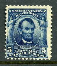 US Scott 304 Lincoln F Mint Hinged Jumbo Margins $65.00