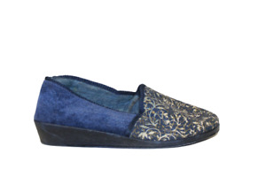 Ladies Blue Slip On Slippers Size 5 Swirl Design Sturdy Sole Womens