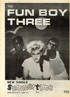 "24/7/82PGN26 SINGLE ADVERT 15X11"" FUN BOY THREE : SUMMER TIME FRAMED"