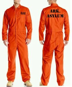 BANE ASYLUM Prison Jail Costume JUMPSUIT Best Quality Orange Halloween Cosplay