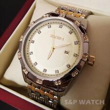 Men Elgin Luxury Two Tone Stainless Steel Calendar Date Diamond Bracelet Watch