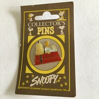 Vtg Peanuts Snoopy Dog House Pin Woodstock Lapel Pin Carded Collector