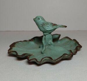"""Vintage Metal Bird Vanity Tray Antique Green Leaf Trinket 4"""" x 2"""""""