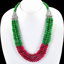 541.50 CTS EARTH MINED RICH RED RUBY & GREEN EMERALD ROUND SHAPE BEADS NECKLACE