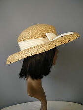 Accessorize hat straw bow cream wedding church summer spring tea party