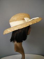 Accessorize hat straw bow cream wedding church summer spring tea party