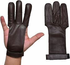 Archers Leather 3 Finger Right Hand  Gloves100% Thick Leather Skin In All Sizes