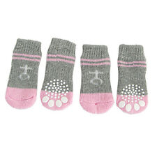 Pink Gray Nonslip Warm Knitted Socks Bootie for Pet Dog HY