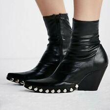 Jeffrey Campbell Black Walton Stretch Leather Boots Sz 40