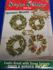 Christmas Wreaths Party Hanging Plastic Wall Decoration Scene Setter Add-Ons