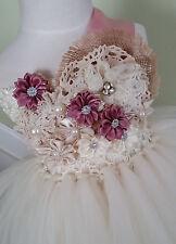 flower girl tutu dress hair bow Wedding photograph Pageant ivory dusty wedding