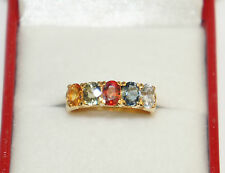 14k Solid Yellow Gold Band Ring with Natural Oval Color Sapphire.