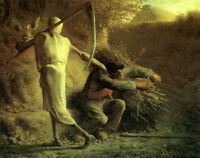 Excellent art Oil painting male portrait Death and Woodman in landscape canvas