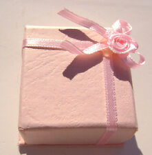 1579pk Gift Box Ring Studs Paper Pink Peach With Ribbon Amp Bow