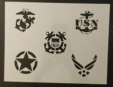 "Military Army Air Force Navy Marines Coast Guard 11 x 8.5"" Stencil FREE SHIPPING"