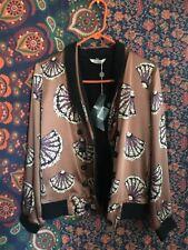 NWT Tucker Rustic Brown Purple Seashell Print Silk Blend Bomber Jacket Sz M💜