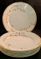 "Set of Six - Stunning APILCO Hand Painted Gold Trimmed Dinner Plates 9-5/8"" EUC!"